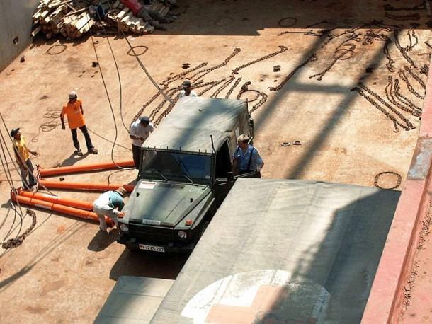 Holger bewegte alle Einsatzfahrzeuge im Rumpf der Argentina